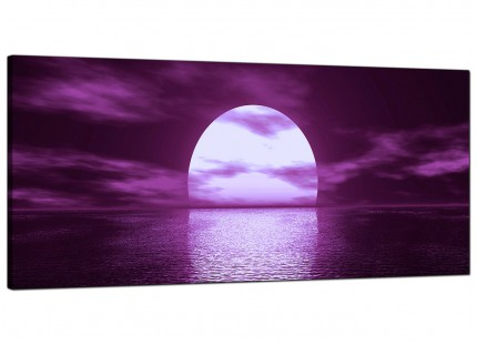 Large Purple Sunset Ocean Sky Landscape Modern Canvas Art - 120cm - 1002