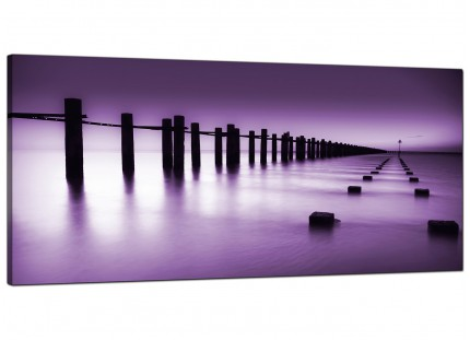 Large Purple White Beach Scene Landscape Modern Canvas Art - 120cm - 1086