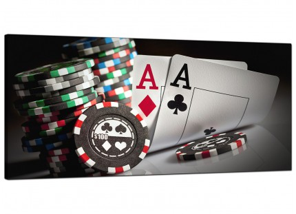 Large Poker Playing Cards Gambling Aces Modern Canvas Art - 120cm - 1048