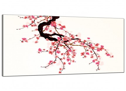 Large Japanese Cherry Blossom Tree Pink Cream Floral Canvas Art - 120cm - 1081