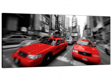 Large Red Black White Grey New York Taxi Cab Cityscape Canvas Art - 120cm - 1025