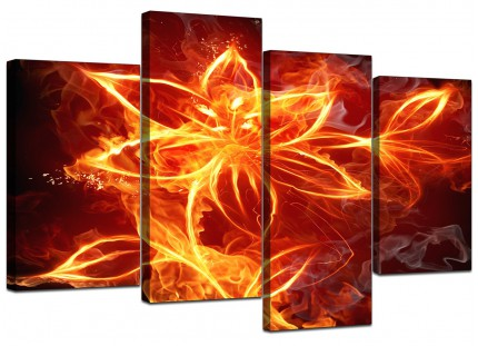 Flaming Fire Flower Orange Black Abstract Canvas - Multi 4 Panel - 130cm - 4063