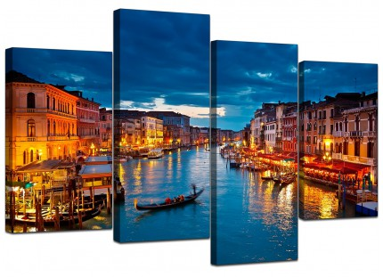 Venice Italy Gondola Grand Canal Blue City Canvas - Multi 4 Piece - 130cm - 4068