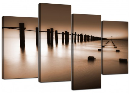 Brown Beige Coloured Beach Scene Landscape Canvas - Split 4 Piece - 130cm - 4088