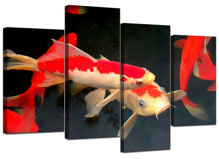 Japanese Koi Carp Fish Pond Canvas - Multi 4 Part - 130cm - 4094