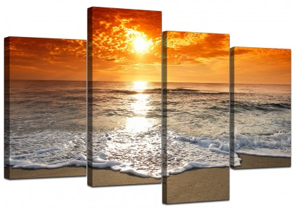 Ocean Sunset Beach Scene View Orange Landscape Canvas - 4 Part - 130cm - 4152