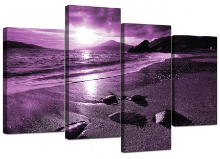 Purple Sunset Beach Scene Landscape Canvas - Multi 4 Set - 130cm - 4077