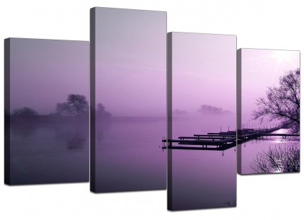 Purple Sunset Jetty Lake View Landscape Canvas - Multi 4 Panel - 130cm - 4119