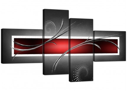 Red Black Grey White Modern Abstract Canvas - Split 4 Set - 160cm - 4091
