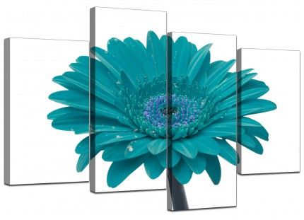 Teal White Gerbera Daisy Flower Floral Canvas - Split 4 Piece - 130cm - 4114
