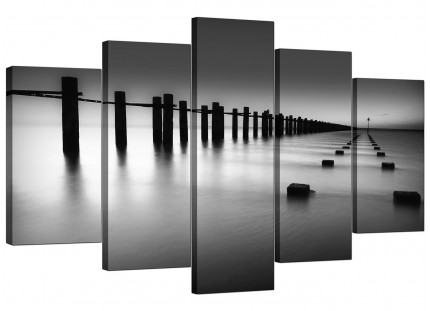 Extra Large Black White Beach Scenery Landscape Canvas - 5 Piece - 160cm - 5085