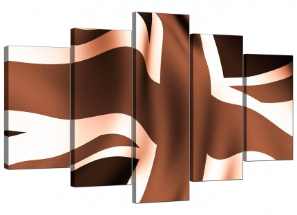 Brown and Cream Union Jack Flag Abstract XL Canvas - 5 Set - 160cm - 5011