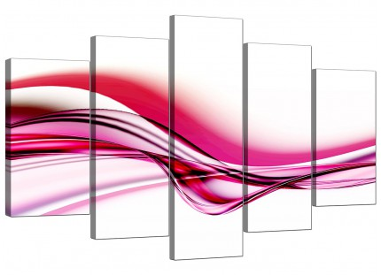 Extra Large Pink White Modern Wave Abstract Canvas - Set of 5 - 160cm - 5030