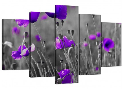 Purple Poppy Grey Black White Flower Floral XL Canvas - 5 Set - 160cm - 5136