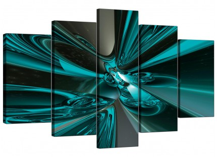 Extra Large Teal and Grey Cyclone Abstract Canvas - 5 Part - 160cm - 5017