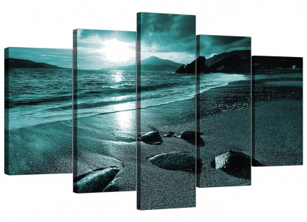 Teal Coloured Sunset Beach Scene Landscape XL Canvas - 5 Piece - 160cm - 5079