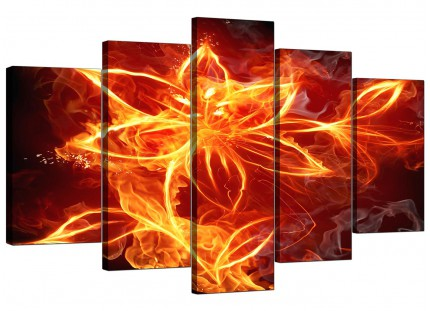 Flaming Fire Flower Orange Black Abstract XL Canvas - 5 Panel - 160cm - 5063