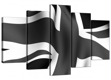 Extra Large Union Jack Canvas Art 5 Piece in Black & White