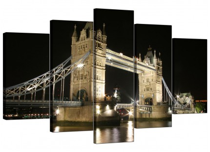 Black White Tower Bridge London Cityscape XL Canvas - Set of 5 - 160cm - 5023