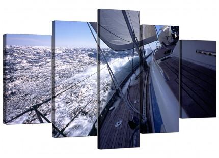 Sailing Yacht Boat Blue Ocean Waves Landscape XL Canvas - 5 Piece - 160cm - 5105