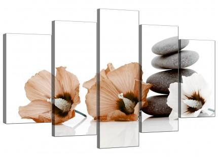 Brown White Flowers Zen Pebbles Stones Floral XL Canvas - 5 Part - 160cm - 5073