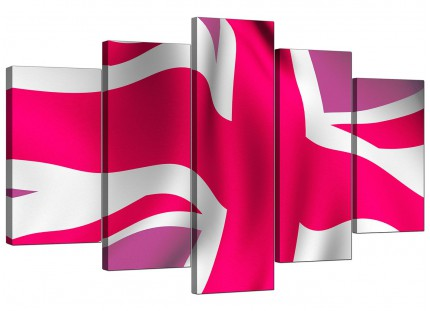 Extra Large Pink White Union Jack Flag Abstract Canvas - 5 Set - 160cm - 5012