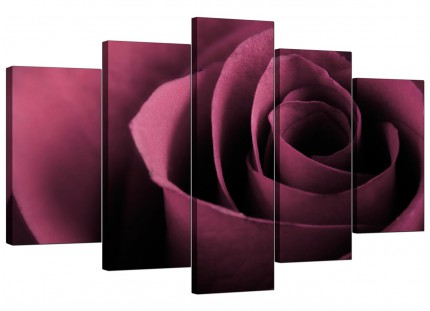 Extra Large Plum Coloured Rose Petal Flower Floral Canvas - 5 Set - 160cm - 5111