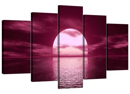 Extra Large Plum Coloured Sunset Sea Landscape Canvas - 5 Panel - 160cm - 5004