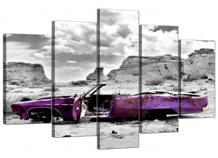 Abstract Purple Grey Car Desert Landscape XL Canvas - Set of 5 - 160cm - 5144