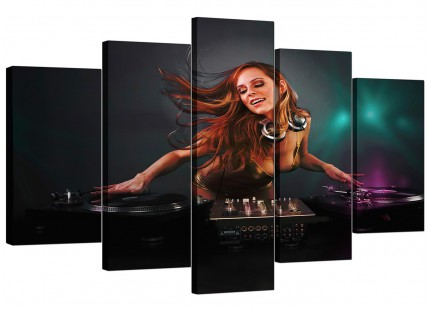 Extra Large Girl DJ Mixing Decks Clubbing Canvas - 5 Piece - 160cm - 5064