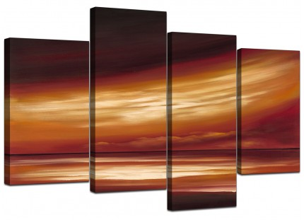Brown Cream Abstract Sunset Modern Landscape Canvas - Set of 4 - 130cm - 4147