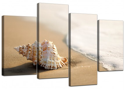 Sea Shells Shore Bathroom Cream Beige Beach Canvas - Multi 4 Set - 130cm - 4146