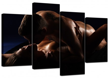 Bedroom Romantic Couple Nude Erotica Canvas - Multi Set of 4 - 130cm - 4133
