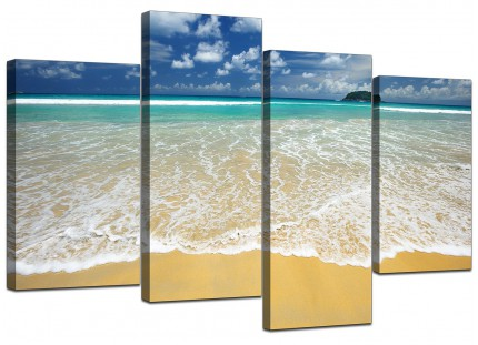 Tropical Ocean Sandy Shore Scene Beach Canvas - Multi 4 Set - 130cm - 4043