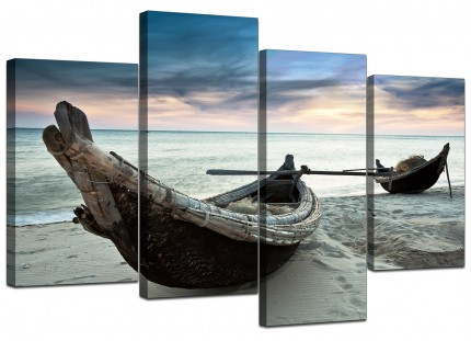 Canvas Art of Beach Boats for your Living Room - Set of 4