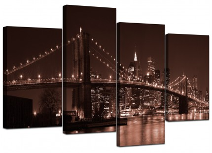 Brown Brooklyn Bridge New York Skyline Cityscape Canvas - Set of 4 130cm - 4122