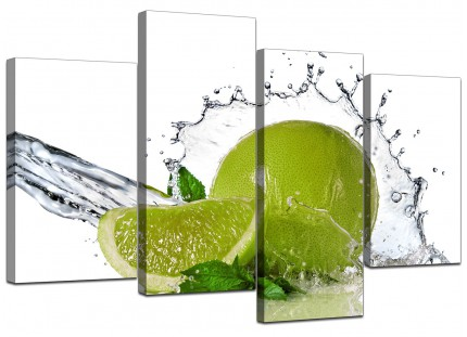 Lime Green White Fruit Splash Kitchen Canvas - Split 4 Panel - 130cm - 4057
