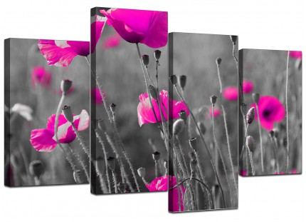 Pink Poppy Black Grey Flower Poppies Floral Canvas - 4 Part Set - 130cm - 4137
