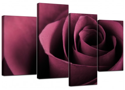 Plum Coloured Rose Petal Flower Floral Canvas - Split Set of 4 - 130cm - 4111