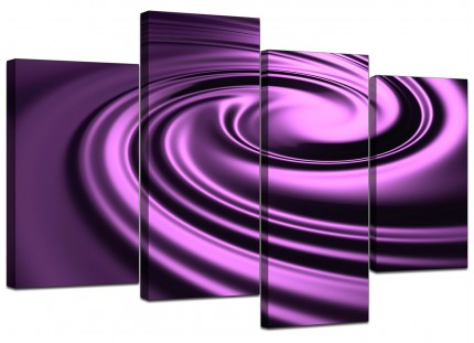 Purple Black Swirl Design Abstract Canvas - Multi 4 Piece - 130cm - 4058