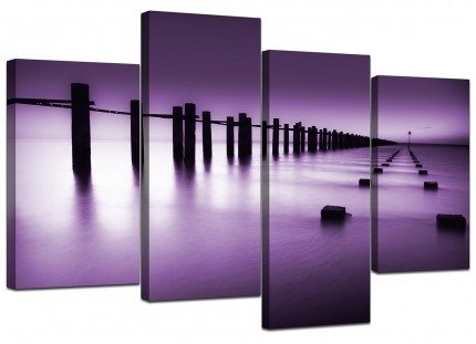 Purple White Beach Scene Landscape Canvas - Split 4 Panel - 130cm - 4086