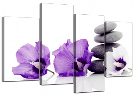 Purple Grey White Flowers Zen Stones Floral Canvas - 4 Piece - 130cm - 4071