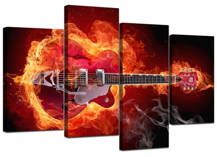 Flaming Red Electric Guitar Music Canvas - Multi 4 Set - 130cm - 4065