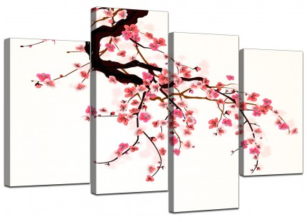 Japanese Cherry Blossom Tree Pink Cream Floral Canvas - 4 Piece - 130cm - 4081