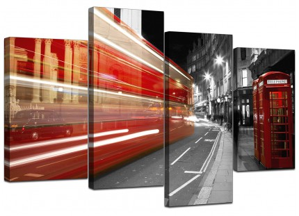 Black White Red London Bus Street Scene City Canvas - 4 Part Set - 130cm - 4127