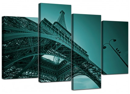 Teal Coloured Eiffel Tower Paris Cityscape Canvas - Multi 4 Panel - 130cm - 4014