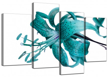 Teal Tiger Lily Flower on White Floral Canvas - Multi 4 Part - 130cm - 4054