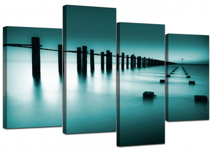 Teal Coloured Beach Scene Landscape Canvas - Multi 4 Panel - 130cm - 4089