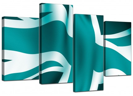 Teal Green Blue Union Jack Flag Abstract Canvas - Multi Set of 4 - 130cm - 4010