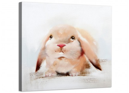 Large Childrens Bedroom Nursery Kids - Rabbit Modern Canvas Art - 48cm - 1s247m